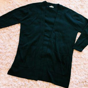 H&M Heavy, Long Black Open Sweater With Pockets